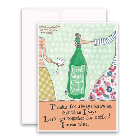 """Embrace the magic of small moments with Curly Girl! Colorful collage art and hand-stamped wisdom make every piece a work of art that happens to be a super handy, post-perfect greeting card!""""Thanks for always knowing that when I say """"let's get together for coffee!"""" I mean wine.""""Small words: """"darling things like you are some of life's tiny miracles""""A6 Card (4 1/2″ x 6 1/4″ ) Blank Inside White envelope Poly-Sleeved"""