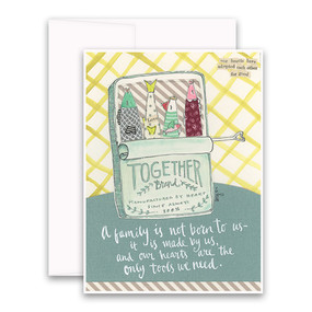 "Embrace the magic of small moments with Curly Girl! Colorful collage art and hand-stamped wisdom make every piece a work of art that happens to be a super handy, post-perfect greeting card!  This is the first Curly Girl card aimed at adoptive families and features the cutest darn sardines you've ever seen!""A family is not born to us – it is made by us and our hearts are the only tools we need""Small words: ""our hearts have adopted each other for good""A6 Card (4 1/2″ x 6 1/4″ ) Blank Inside White envelope Poly-Sleeved"