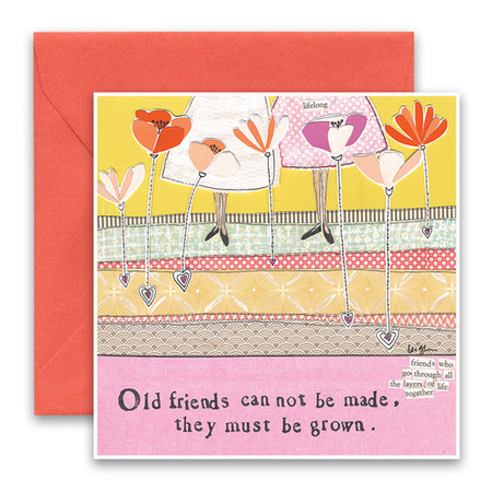 """Embrace the magic of small moments with Curly Girl! Colorful collage art and hand-stamped wisdom make every piece a work of art that happens to be a super handy, post-perfect greeting card!""""Old friends can not be made, they must be grown.""""Small words: """"friends who go through all the layers of life together""""5.5"""" Square Card* Blank Inside Colored Envelope* Poly-sleeved*Square cards may require additional postage *Envelope color may vary"""