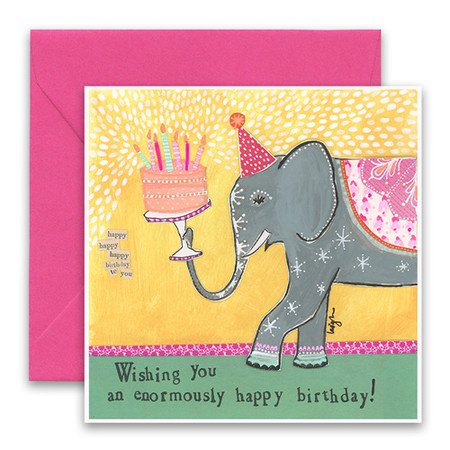 "Embrace the magic of small moments with Curly Girl! Colorful collage art and hand-stamped wisdom make every piece a work of art that happens to be a super handy, post-perfect greeting card!  Our Enormous Birthday Greeting Card says:""Wishing you an enormously happy birthday!""Small words: ""Happy happy happy birthday to you""5.5"" Square* Glitter Details Blank Inside Colored Envelope* Poly-sleeved*Square cards may require additional postage *Envelope color may vary"
