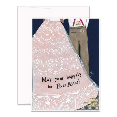 """Embrace the magic of small moments with Curly Girl! Colorful collage art and hand-stamped wisdom make every piece a work of art that happens to be a super handy, post-perfect greeting card!  Our Happily Ever After Card says:""""May your happily be Ever After!""""Small words: """"to the happiest happy, very happy wedding"""" """"best wishes""""A6 Card (4 1/2″ x 6 1/4″ ) Blank Inside White envelope Poly-Sleeved Glitter details"""