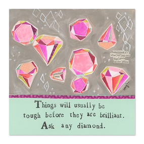 "Dress up your fridge or office with a cute Curly Girl magnet (or ten)! Collect them, trade them, gift them, send them, share them, love them!""Things will usually be tough before they are brilliant. Ask any diamond""Small words: ""Sometimes it's what we survive that gives us our shine""3.5″ x 3.5″ Heavy duty Individually poly-wrapped"