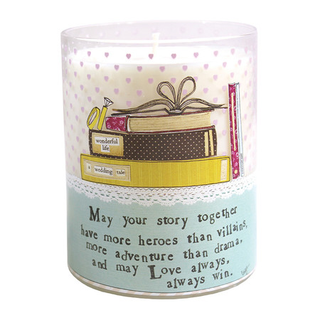 """Breathe easy, sit back and relax with these clean-burning soy candles. Each candles comes wrapped in your favorite -ism and gift wrapped with love. Pet safe, environmentally friendly and totally re-usable, these candles let you relax in more ways than one!""""May your story together have more heroes than villians, more adventure than drama, and may love always win.""""Made of 100% soy wax Approx 40hrs burn time lightly scented, 'tranquility' for best results, trim wick 1/4″ before burning"""