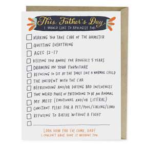 father's day checklist | father's day card