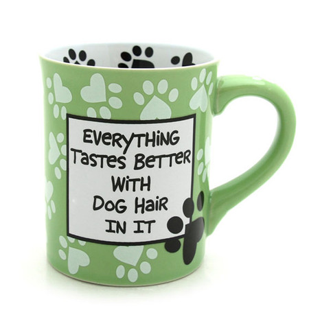 everything tastes better with dog hair in it ceramic mug green pawprints