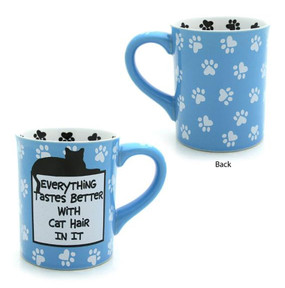 everything tastes better with cat hair in it ceramic funny coffee tea mug gift for cat owner lover blue pawprints