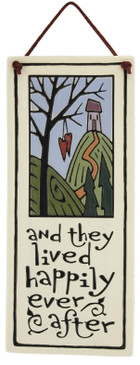 and they lived happily ever after ceramic wall tile artisan made in usa spooner creek cute engagement wedding housewarming gift for newlyweds