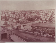 Kent Town Brewery, Looking West  This view shows us the 1880 development of Kent Town, named afer Dr Benjamin Archer Kent who  dedeveloped a farm and flour mill on survey  block 255. It is in this suburb that Prince Alfred College was Built in 1869.
