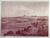 "Alexander Hay bought 160 acres near the Hindmarsh ( seen int  foreground) in the 1870's that he stcked with sheep and then in 1881 moved into this stately 22 roomed residence. Alexander died in 1898 and his wife and daughter were lost on a voyage to England in the ill-fated ""Waratah"" in 1909. In recent years the Baron and Baroness Balintober have restored the building after the ravages of firein 198, use as a hospitalin the 1940s and then derilection."