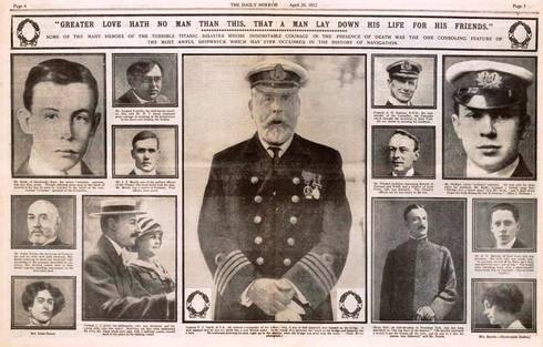 The Daily Mirror 20 April 1912: Here is a tribute featuring Capt E.J Smith, Mr Bride and Mr Phillips both tireless operators, Mr Jacques Futrelle a well known novelist, American Millionaires  Mr. Isidor Straus and wife, Col. J.J. Astor, among others.