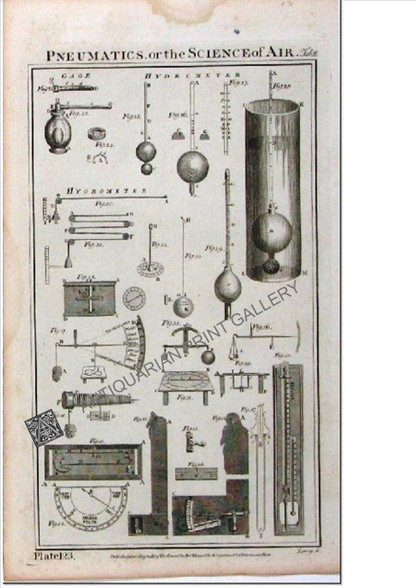 """Science Technology """"Pneumatics, or the Science of Air  Hydrometer"""", Wilson Lowry 1788 Antique Print"""