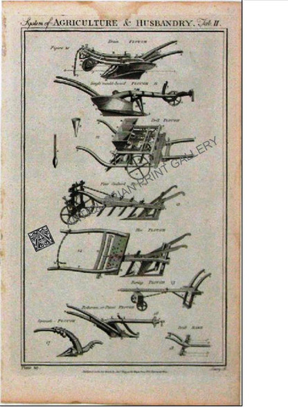 Technology Agriculture Husbandry Ploughs 1788 Antique Print