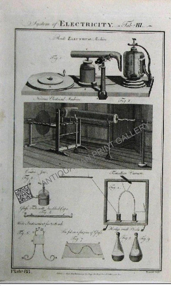 Electricity: Read's and Nairne's Electrical Machines, Torricellian vacuum, Henlys small Phial Published c.1788