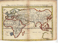 """A Map of the World as far as it was known to the Antients"" Christopher Browne London c.1725"