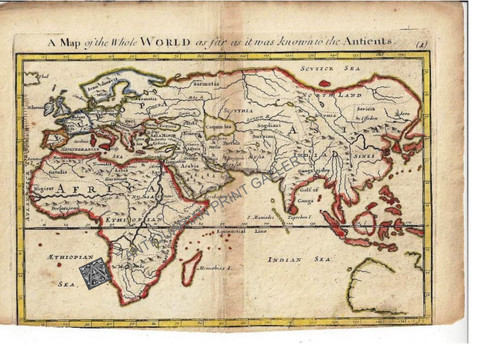 """""""A Map of the World as far as it was known to the Antients"""" Christopher Browne London c.1725"""