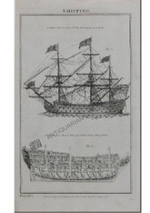 """Maritime Hull Design """"First Rate Ship of War..."""" antique Copper-engraving c.1788"""