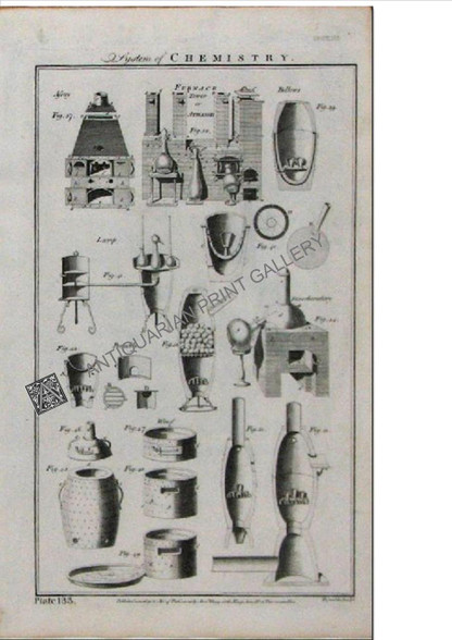 """""""System of Chemistry"""" Antique copper engraving, Published London 1788"""