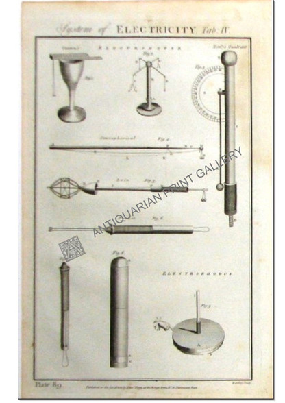 """""""System of Electricity"""" Canton's Electrometer, Henly's Quadrant Antique engraving Pub.1788"""