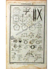 "Technology Science ""Compasses, &c.""  Antique copper-plate engraving, Pub. London 1788"