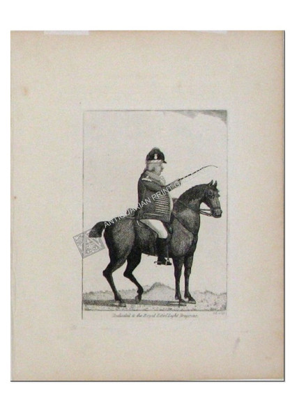"Caricature ""Dedicated to the Royal Edinburgh Light Dragoons"" Antique Aquatint etching by John Kay for ""Kay's Edinburgh Portraits"" Published Edinburgh 1797"