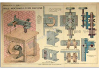 Wall Wood Moulding Machine, Antique chromolithograph c1900