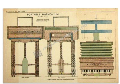 How to build a Portable Harmonium Antique Chromolithograph c.1900