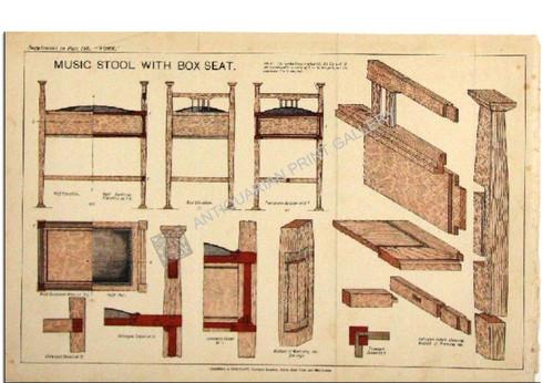 """Musical Stool with Box Seat""  Work Magazine Part 187 c.1900"