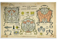 """Metal Fire Screens with Leaded Glass Centres"" Antique Chromolithograph c. 1890"
