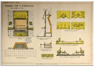 """Design for a Fireplace"" Antique Chromolithograph c.1880"