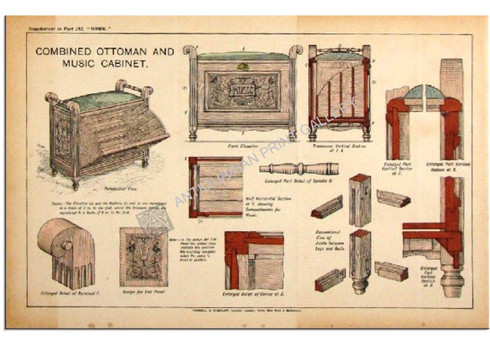 """""""Combined Ottoman and Music Cabinet"""" c,1895"""