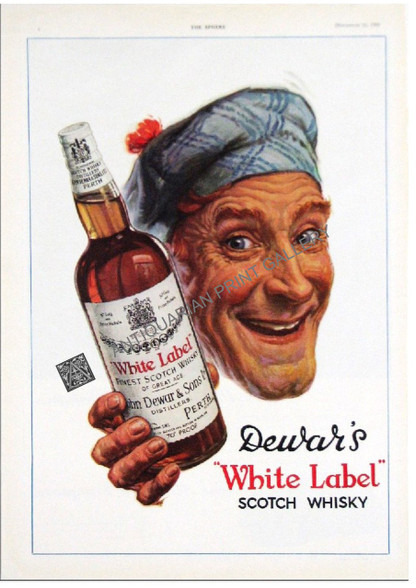 Dewars White Label Scotch Whisky Advertisement 1950. Both adverts on this page are reverse of same page. Scotsman holding a bottle of whiskey. Visit www.historyrevisited.com.au