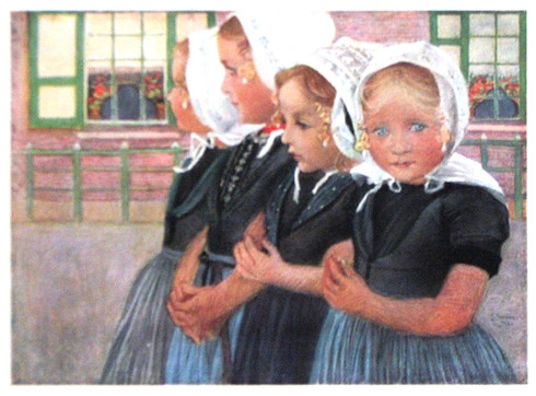 """Breton Schoolgirls"" by French Artist Lucien Levy-Dhurmer , 1903"