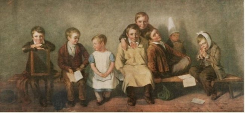 """""""The Smile"""" after the genre painting by Thomas Webster (1880-1886)"""