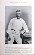 """Harry Trott"" , Australian Cricketer, Antique  Photogravure, 1897"