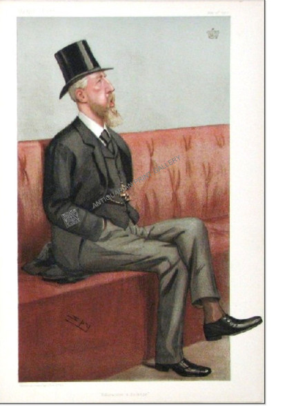 "Caricature, Vanity Fair, The Duke of Devonshire, 1902, Spencer Compton Cavendish, ""Education and Defence"" Antique Chromolithograph by SPY, Sir Leslie Ward, Vincent Brook, Day & Son  London, 1902."