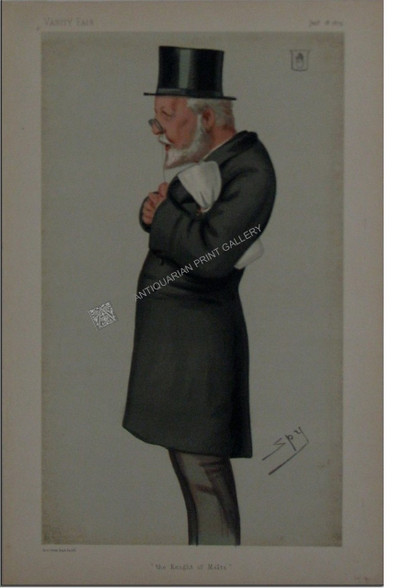 """Vanity Fair """"The King of Malta"""" Sir George Bowyer Antique Chromolithograph Print Vanity Fair Caricature Top Hat Sir George Bowyer, Bart, MP """"The Knight of Malta"""" by SPY, Sir Leslie Ward. British Politician, Barrister. www.historyrevisited.com.au"""