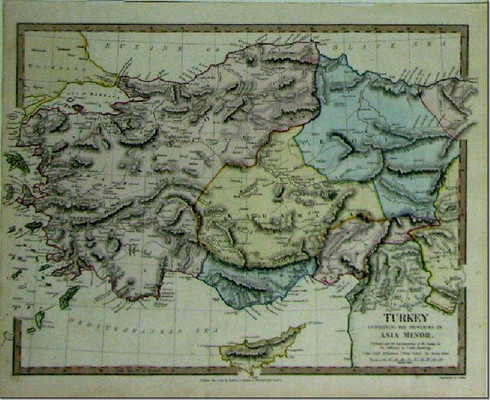 "Antique Map ""Turkey containing the Provinces of Asia Minor"" engraved by J & C Walker, published by Baldwin & Cradock, supervised by the Society of Useful Knowledge. www.historyrevisited.com.au"