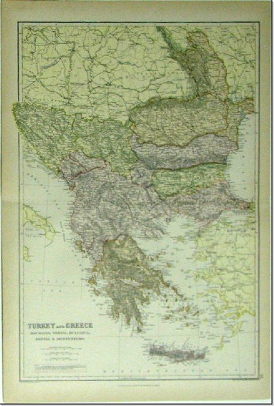 "Antique map ""Turkey and Greece, Roumania, Servia, Bulgaria, Bosnia & Montenegro"" cartography and engraving by Edward Weller, Published Blackie & Son,1882.  www.historyrevisited.com.au"