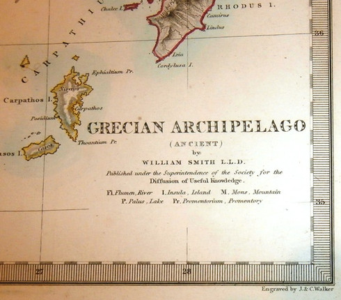 "Antique Map title noting it is historically retrospective from present day in 1850s. Also noting it ""Published under the Superintendence of the Society for the Diffusion of Useful Knowledge"""