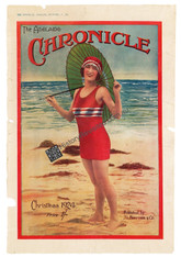 Archival limited Edition Giclee Print. The Adelaide CHRONICLE (young Lady wearing makeup in red bathing costume and matching cap, Green Parasol on a sunny, sandy beach) Christmas 1924. www.historyrevisited.com.au