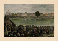 """CRICKETING LEGEND~ Did you ever wonder what gave birth to THE ASHES series? Antiquarian Sporting Series  Archival Limited Edition Giclee Print of  the original wood engraving capturing the 1882 Test at Kennington Oval , London. The Colonial Australia Cricketers won for the first time against a full-strength English team...by 7 runs. The mock obituary placed in """"The Sporting Times"""" has given the two countries the Cricketing Challenge known as  """"THE ASHES"""" Issued with information certificate and Mock Obituary from the 'The Sporting Times ' for inclusion in frame presentation. Archival Edition Limited to 50"""