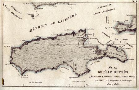 """Kangaroo Island """"Plan de L'Ile Decree A La Terre Napoleon..Freycinet et Boullanger 1802 et 1803"""" Archival Limited Edition Giclee of antique map published Paris 1811. Available historyrevisited.com.au"""