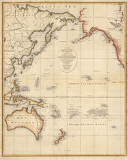 "In 1797, the year that Matthew Flinders and George Bass finally circumnavgated Van Diemens Land establishing its island status, and 5 years before European cartographers discovered the ""unknown coast"" in 1802. (Flinders and Baudin1800-1802)"