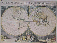 "The World, 1700:""A New Map of the Terraqueous Globe, according to the Ancient Discoveries and the Most General Divisions of it into Continents and Oceans.'' A New Map of the Terraqueous Globe, according to the Ancient Discoveries and the Most General Divisions of it into Continents and Oceans' Archival quality Limited edition of original hand coloured, copper-plate engraving by Michael Burghers (1653-1727) and publisher,  Edward Wells, Oxford c.1700."