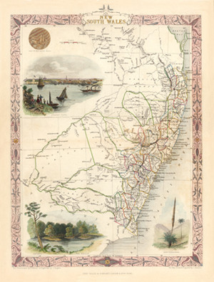 Conservation Quality Giclee of the last of the decorative edged map folios  by  John Tallis & Company.  Orginalsteel engraving  was  published in London, 1850-1854. Limited Edition to 300.