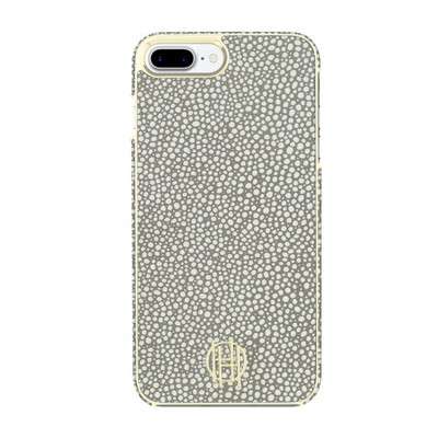 House of Harlow Snap Case for iPhone 7 Plus - Grey Galuchat / Gold Metallic