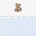 "Fabric Sample in blue ""Hopper"" & ""Primel"" with sitting 'Baby Bear' & 'Ric Rac'"