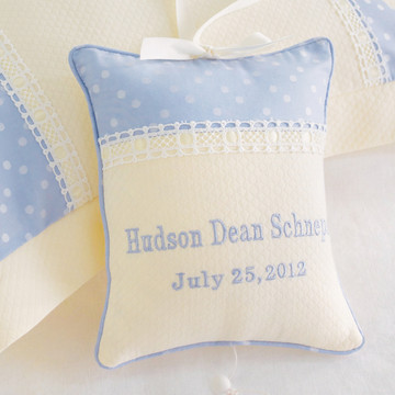 "Musical Pillow in ""Celeste"" & ""Honeycomb"" with 'Garden Eyelet' & Monogram"