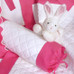 Baby girl bedding in magenta & white linen with embroidered Letters