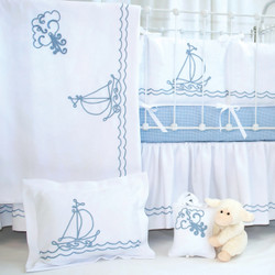 "Baby boy bedding with ""Embroidered Sailboat"" – nautical nursery"